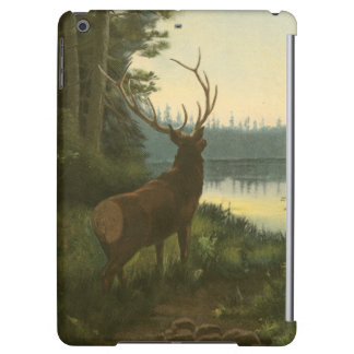 Back view of Elk Looking over a Lake