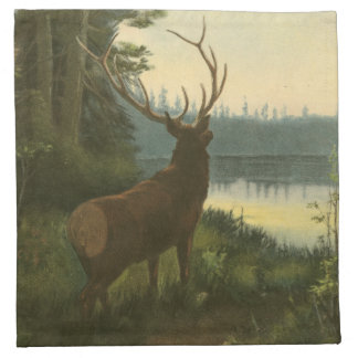 Back view of Elk Looking over a Lake Napkin