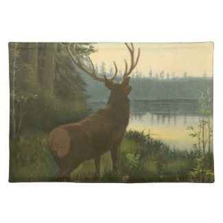 Back view of Elk Looking over a Lake Placemat