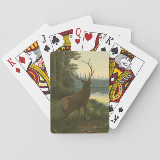 Back view of Elk Looking over a Lake Playing Cards