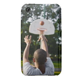 Back view of man shooting basketball outdoors iPhone 3 Case-Mate cases