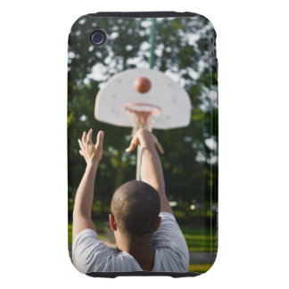 Back view of man shooting basketball outdoors iPhone 3 tough cases