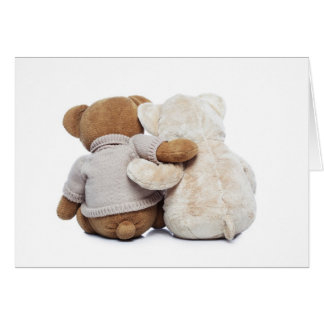 Back view of two Teddy bears hugging each other Card