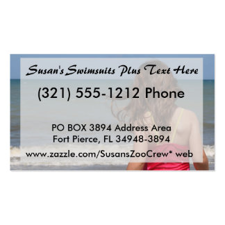 Back view of young girl at a Florida beach Business Card