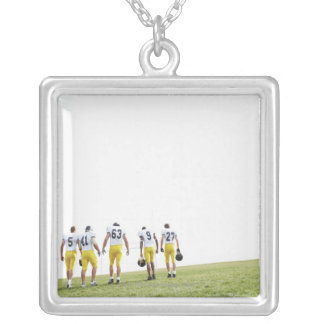 Back view portrait of rugby team silver plated necklace