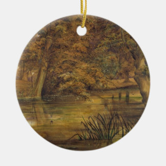 Back Water of the Bratford, 1864 (w/c and pencil o Round Ceramic Decoration