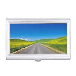 Backcountry road through Spring Canola Fields Business Card Holders