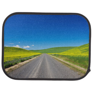 Backcountry road through Spring Canola Fields Car Mat