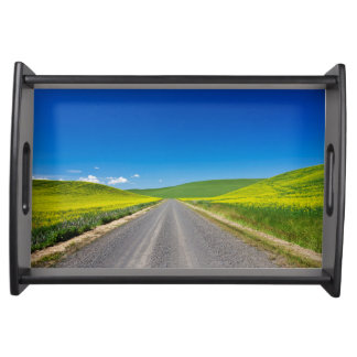 Backcountry road through Spring Canola Fields Serving Tray
