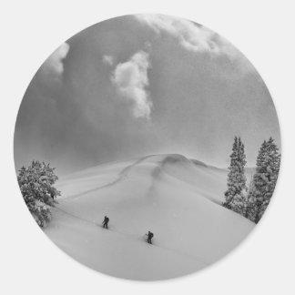 Backcountry Ski Climbers in fresh powder Classic Round Sticker