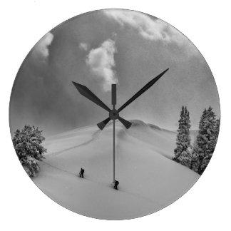 Backcountry Ski Climbers in fresh powder Large Clock