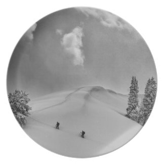 Backcountry Ski Climbers in fresh powder Plate