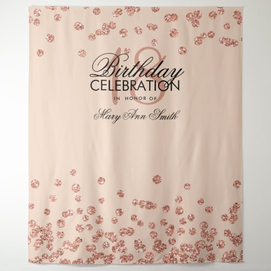 Backdrop 18th Birthday Rose Gold Blush Confetti Tapestry
