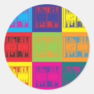 Backgammon Pop Art Round Sticker