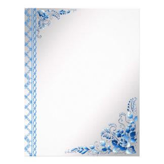 Background Navy Blue  Color Flowers 21.5 Cm X 28 Cm Flyer