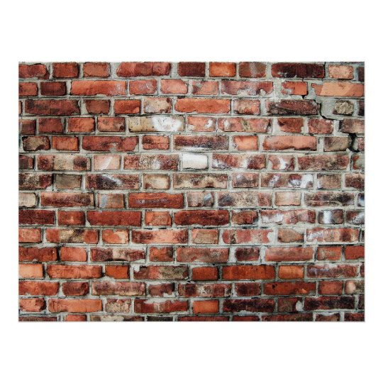 Background of a Red and Grey Brick Wall Poster