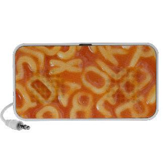 Background of alphabet shaped spaghetti speaker system