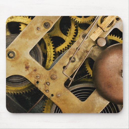 Background of brass cogs and gears mouse pads