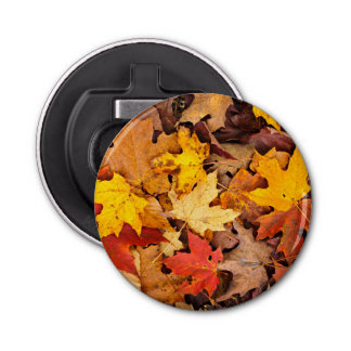 Background Of Colorful Autumn Leaves On Forest Bottle Opener