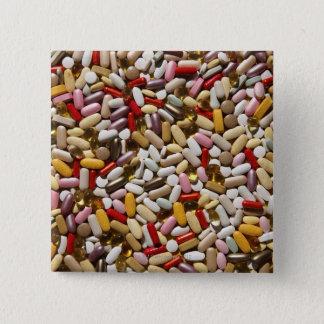 Background of colorful multi-vitamin pills, 15 cm square badge