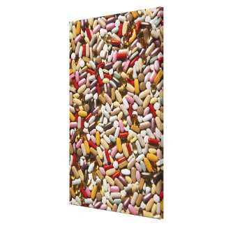 Background of colorful multi-vitamin pills, canvas print