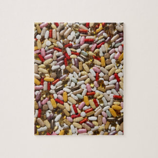 Background of colorful multi-vitamin pills, jigsaw puzzle