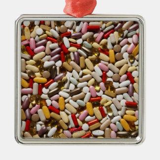 Background of colorful multi-vitamin pills, Silver-Colored square decoration