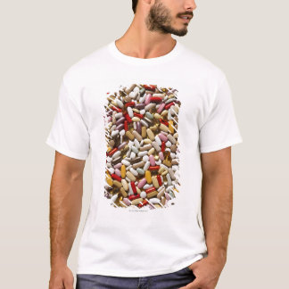 Background of colorful multi-vitamin pills, T-Shirt