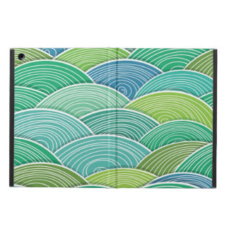 Background of curled abstract green waves case for iPad air