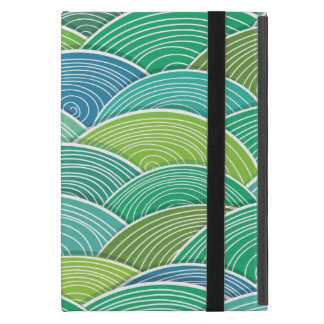 Background of curled abstract green waves case for iPad mini