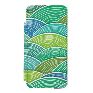 Background of curled abstract green waves incipio watson™ iPhone 5 wallet case