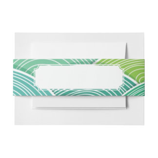 Background of curled abstract green waves invitation belly band