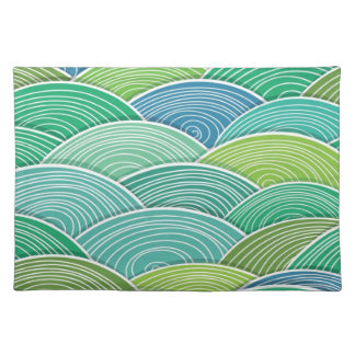 Background of curled abstract green waves placemat