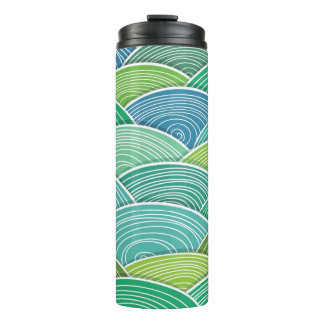 Background of curled abstract green waves thermal tumbler