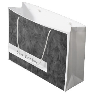 Background PAPER TEXTURE - dirty grey + text Large Gift Bag