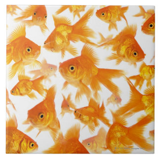Background Showing a Large Group of Goldfish Large Square Tile