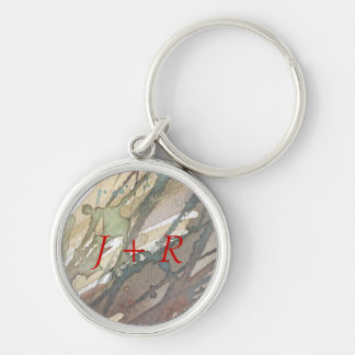 background watercolor 2 Silver-Colored round key ring