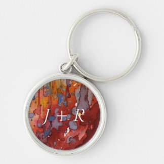 background watercolor 7 Silver-Colored round key ring