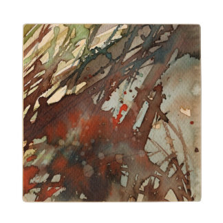 background watercolor wood coaster