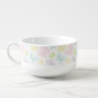 Background with butterflies in watercolor soup bowl with handle