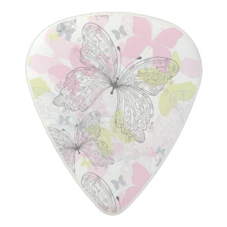 Background with butterfly acetal guitar pick