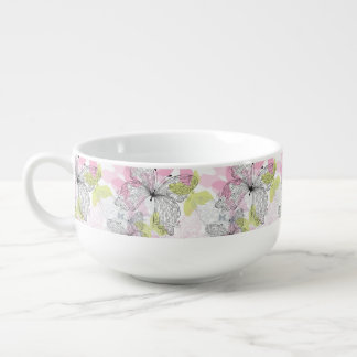 Background with butterfly soup mug