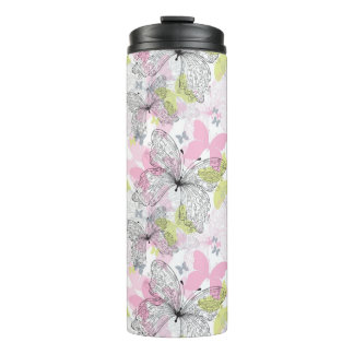 Background with butterfly thermal tumbler