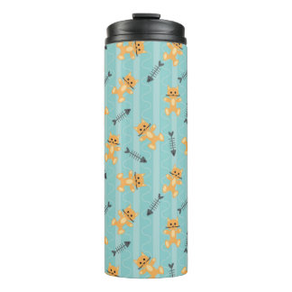 background with cats thermal tumbler