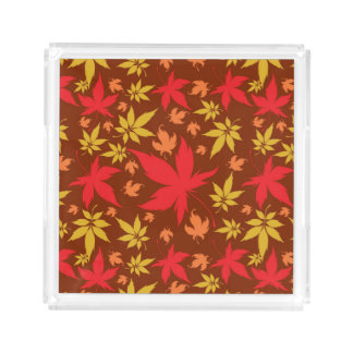 Background with colorful Autumn Leaves Acrylic Tray