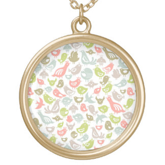 background with colorful birds ornament gold plated necklace
