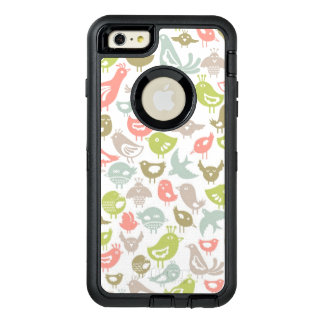 background with colorful birds ornament OtterBox defender iPhone case