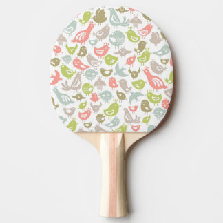 background with colorful birds ornament ping pong paddle
