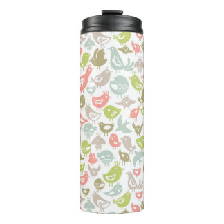 background with colorful birds ornament thermal tumbler