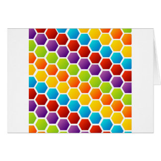 Background with colorful hexagon greeting card
